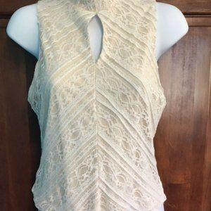 New Women's Aqua Ivory Lace Keyhole Sleeveless